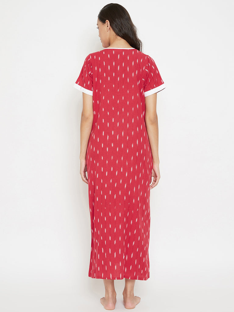 Red Ikat Handloom Cotton Nightdress