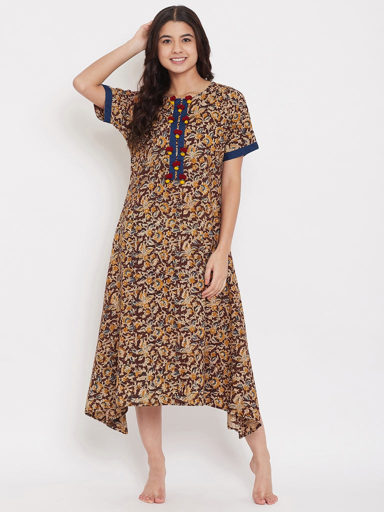 Kalamkari Nightdress with Pompoms
