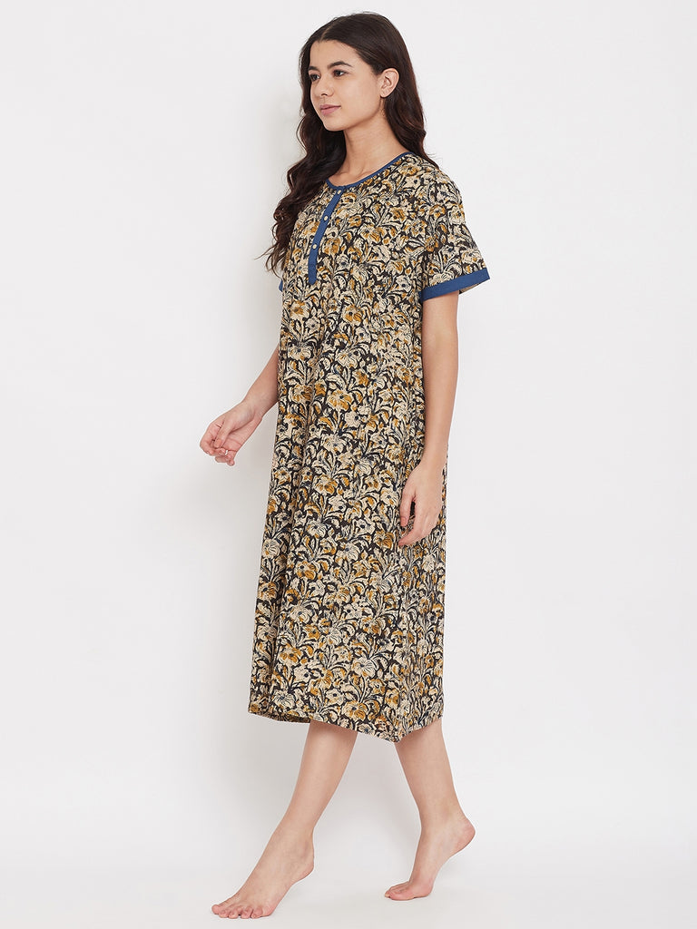 Kalamkari Midi Length Nightdress