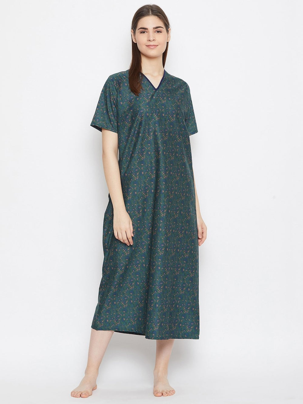 GREEN PRINTED NIGTHDRESS
