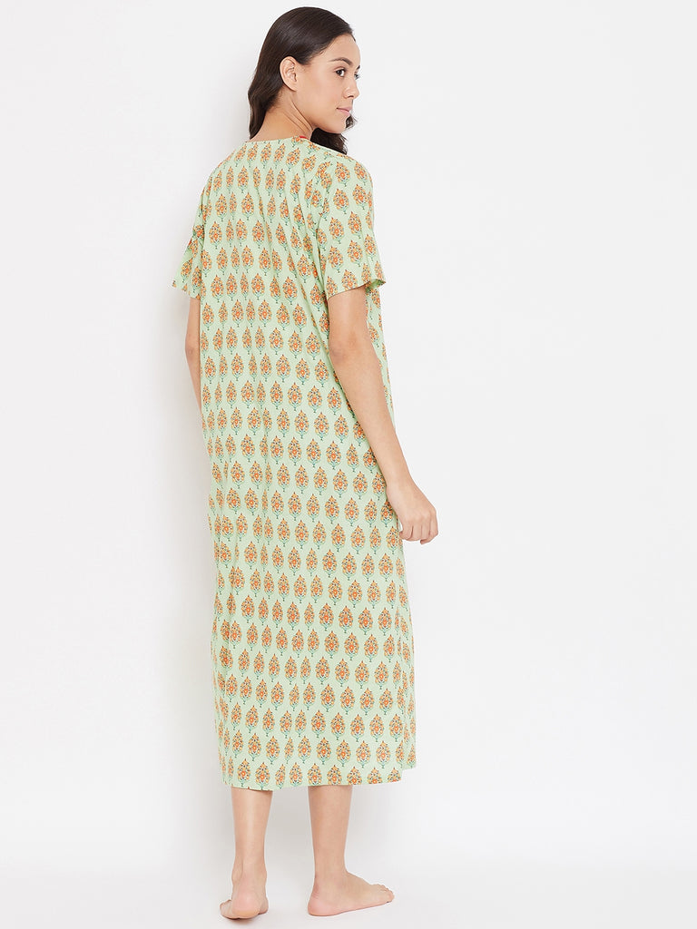 MINT BLOCK PRINTED NIGHTDRESS