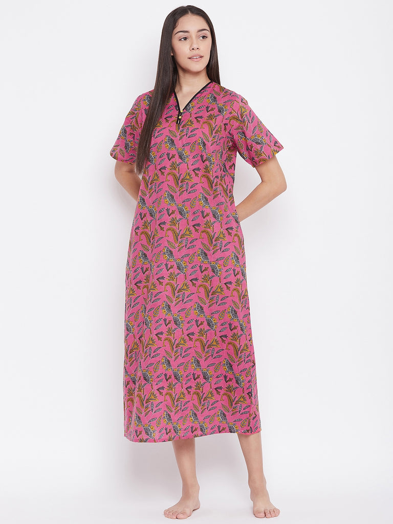 FUCHSIA PRINTED NIGHTDRESS