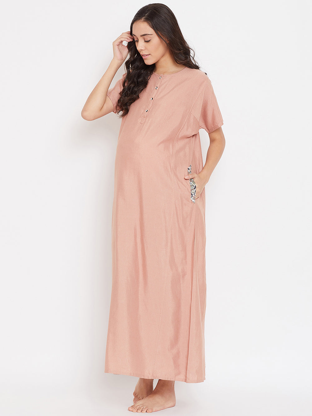 SANDED PINK MATERNITY NIGHTDRESS