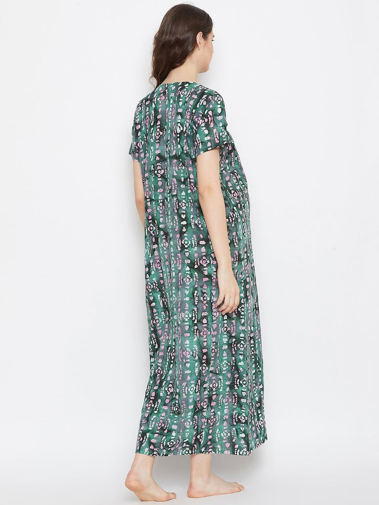 GREEN PRINTED MATERNITY NIGTHDRESS