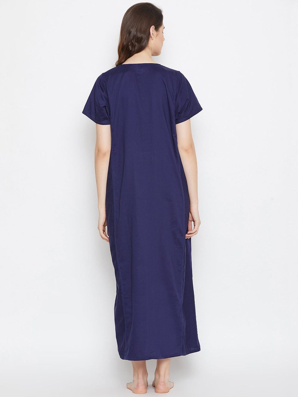 BLUE SOLID MATERNITY NIGTHDRESS