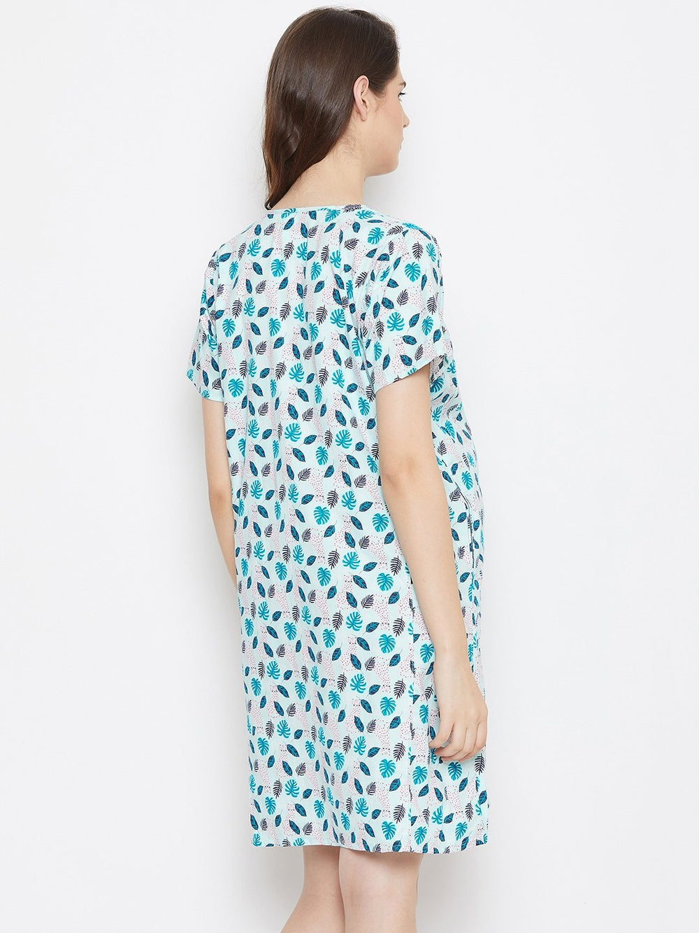 BLUE PRINTED MATERNITY NIGTHDRESS