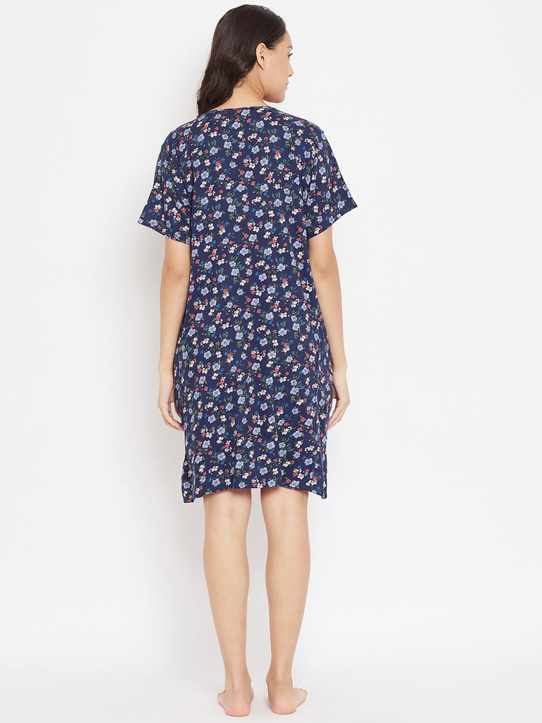 BLUE PRINTED MATERNITY NIGHTDRESS WITH NURSING SLIT