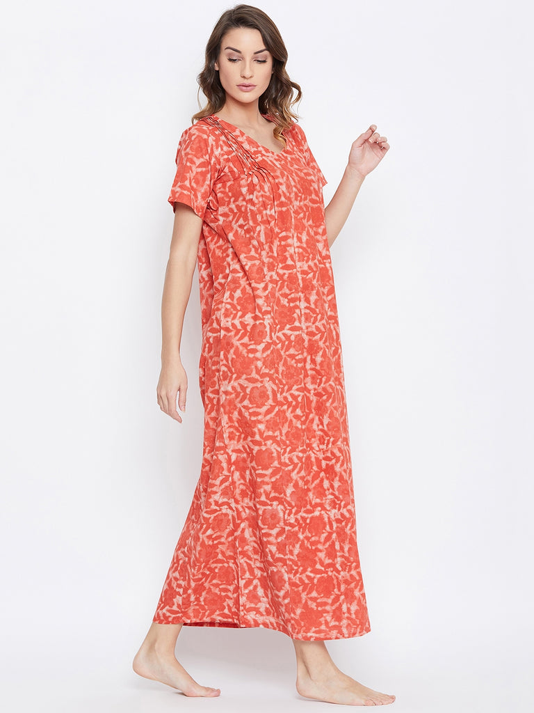 CORAL AJRAKH COTTON NIGHTDRESS