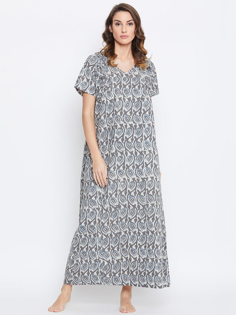 GREY AJRAKH COTTON NIGHTDRESS