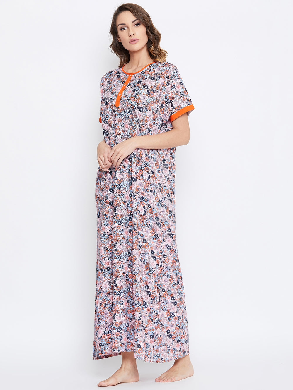 PINK FLORAL COTTON NIGHTDRESS