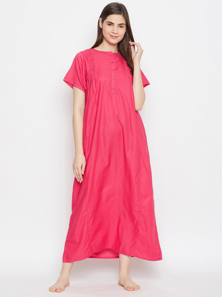 MAGENTA SOLID NIGHTDRESS