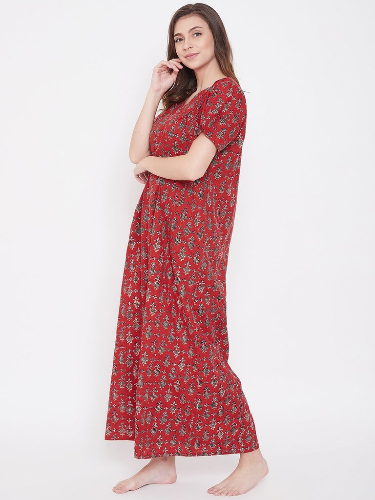 Maroon Printed Cotton Nightdress