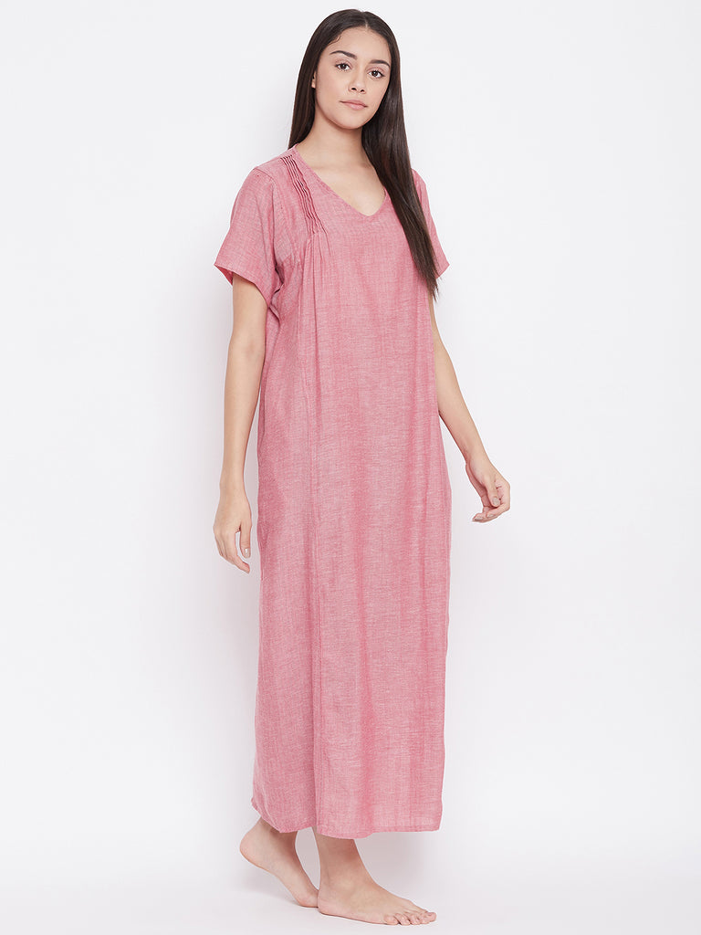 PINK SOLID NIGHTDRESS