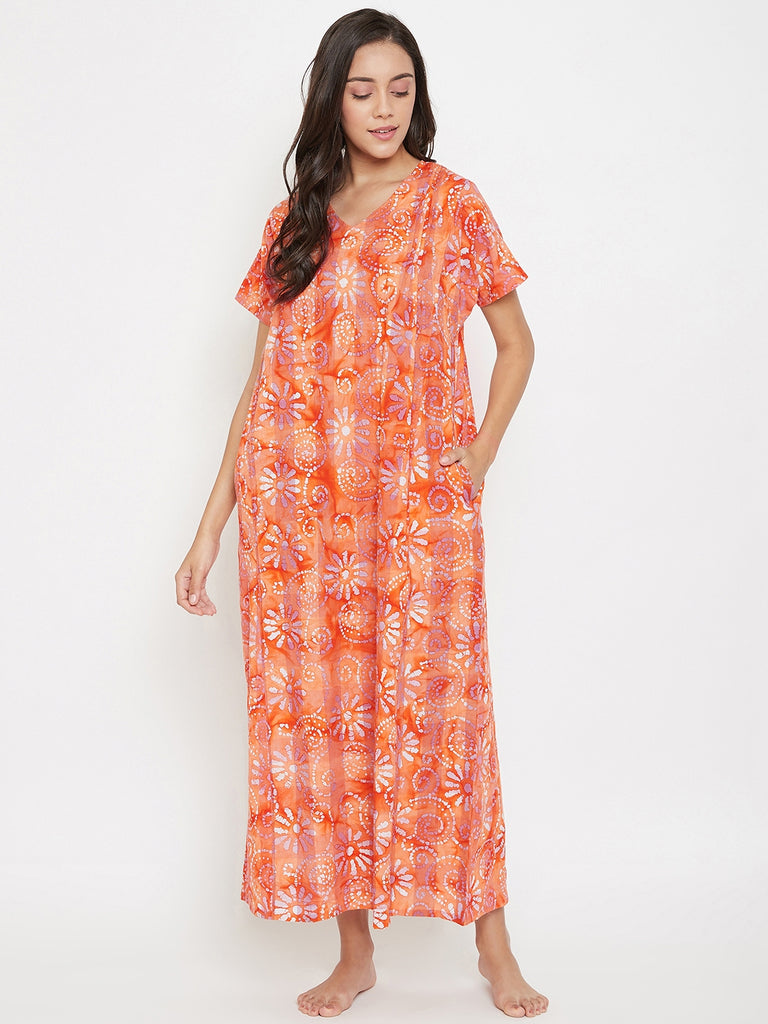 Orange Batik Nightdress