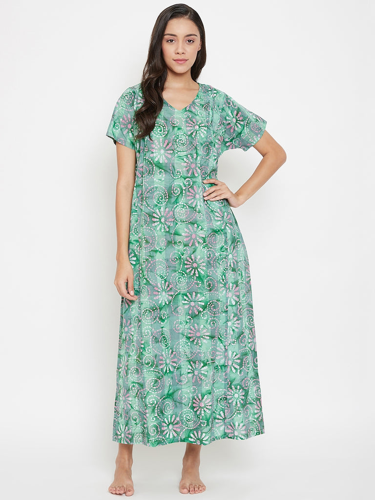 Green Batik Nightdress