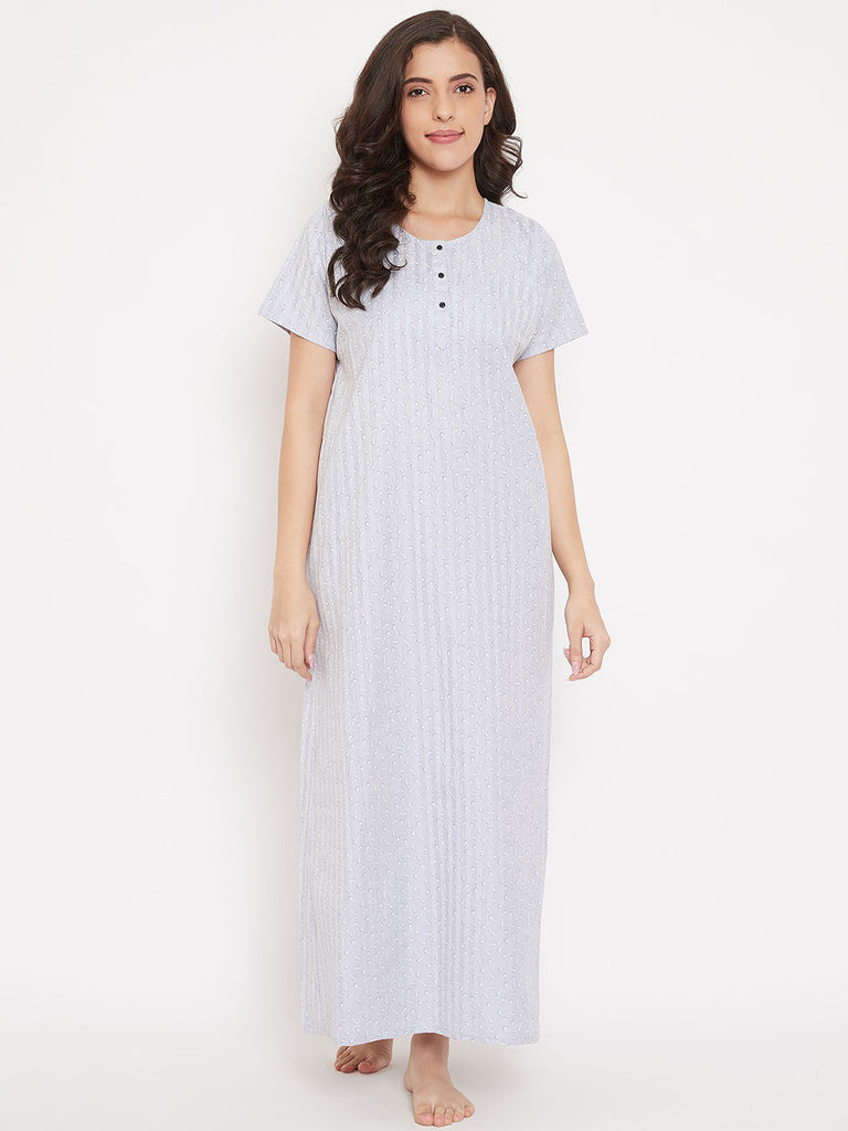 Silver Floral Cotton Nightdress