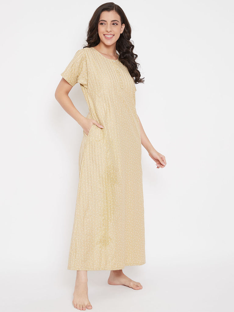 Golden Floral Cotton Nightdress