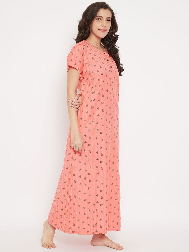 Coral Palms Cotton Nightdress