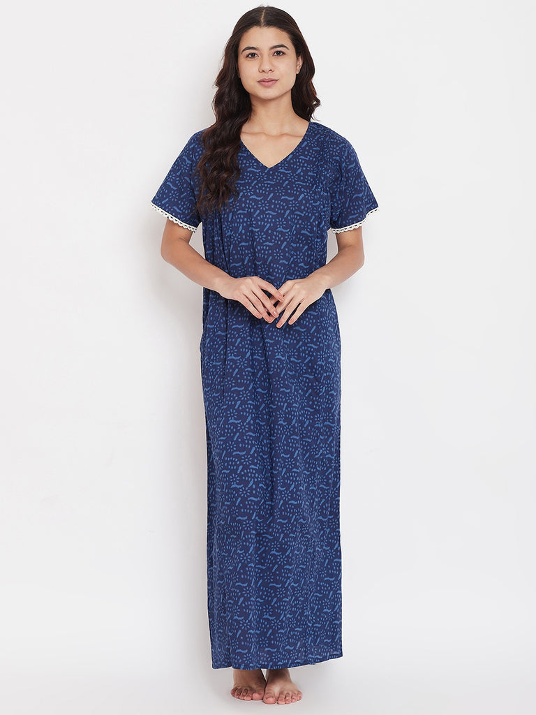 Indigo Floral Nightdress with Lace Trim