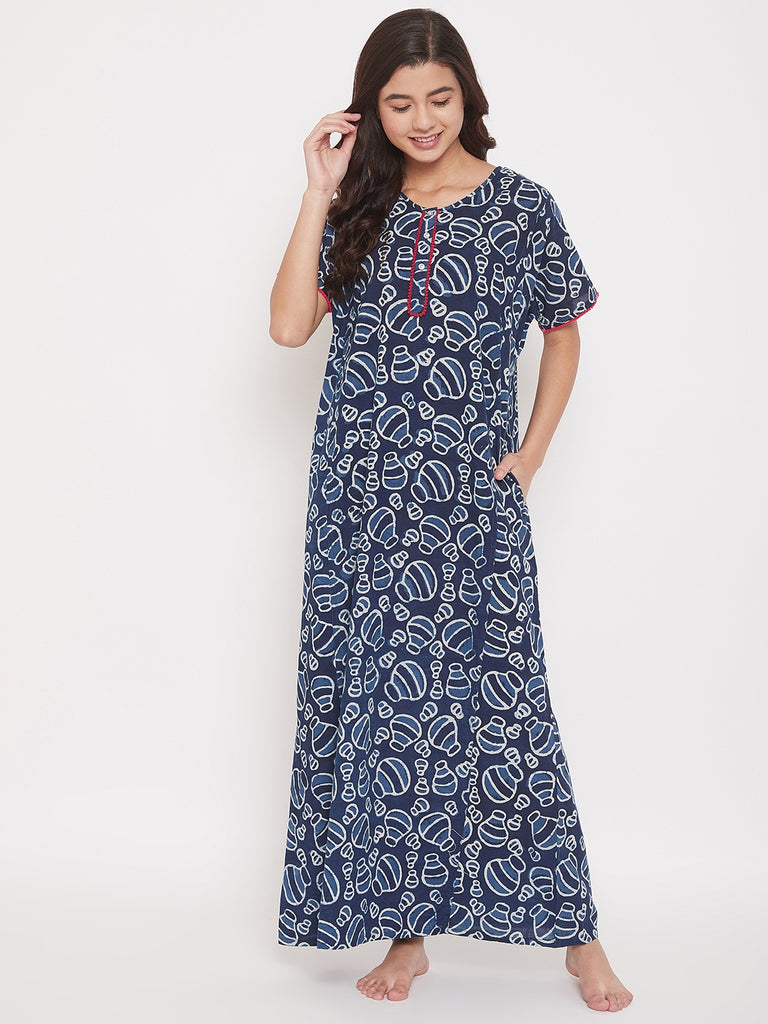 Hand Block Printed Indigo Cotton Maxi Nightdress