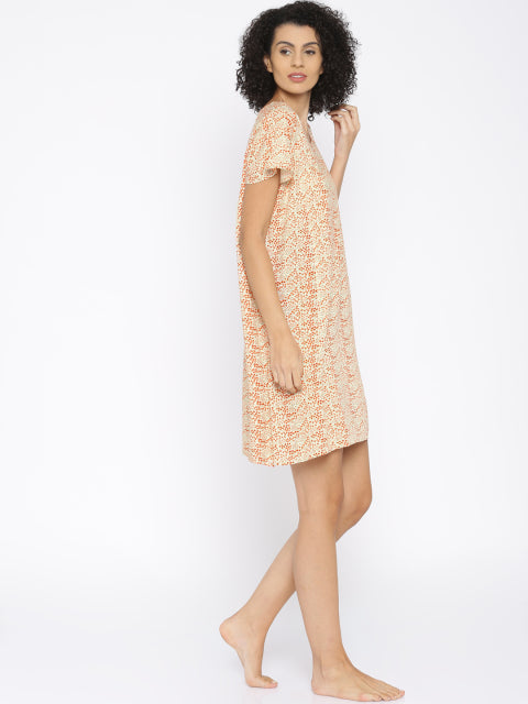 Orange Printed Knee Length Nighty