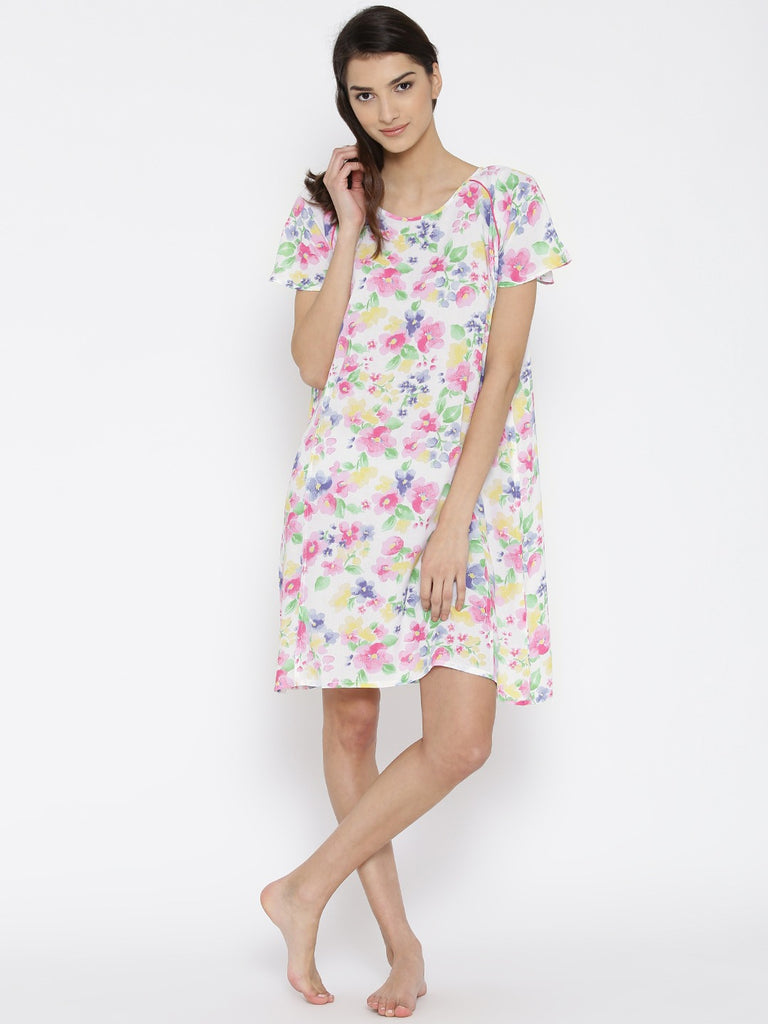 White Floral Printed Cotton Nighty