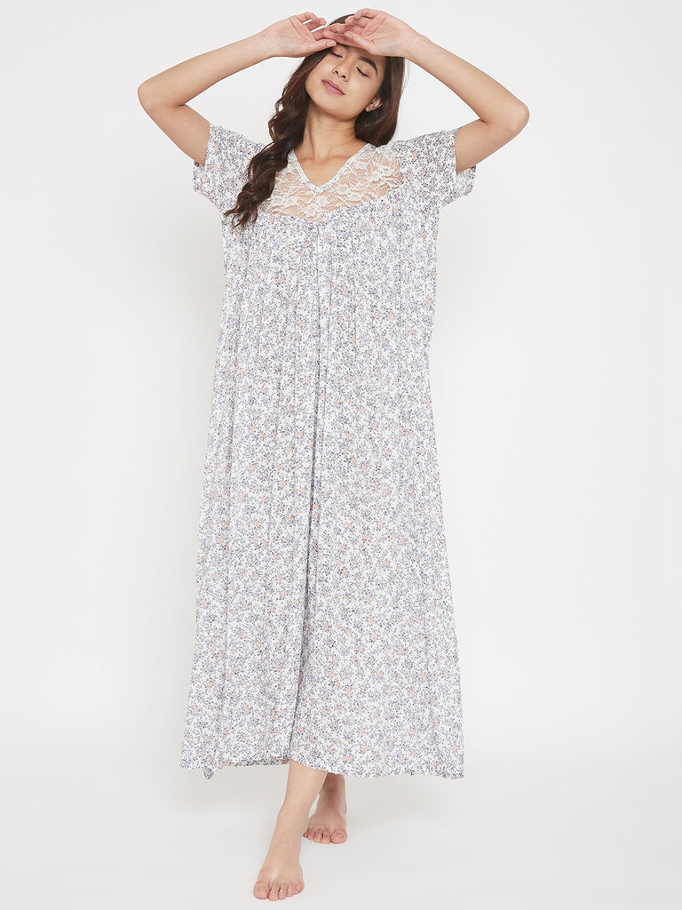 White Floral Printed Nightdress with Lace Yoke
