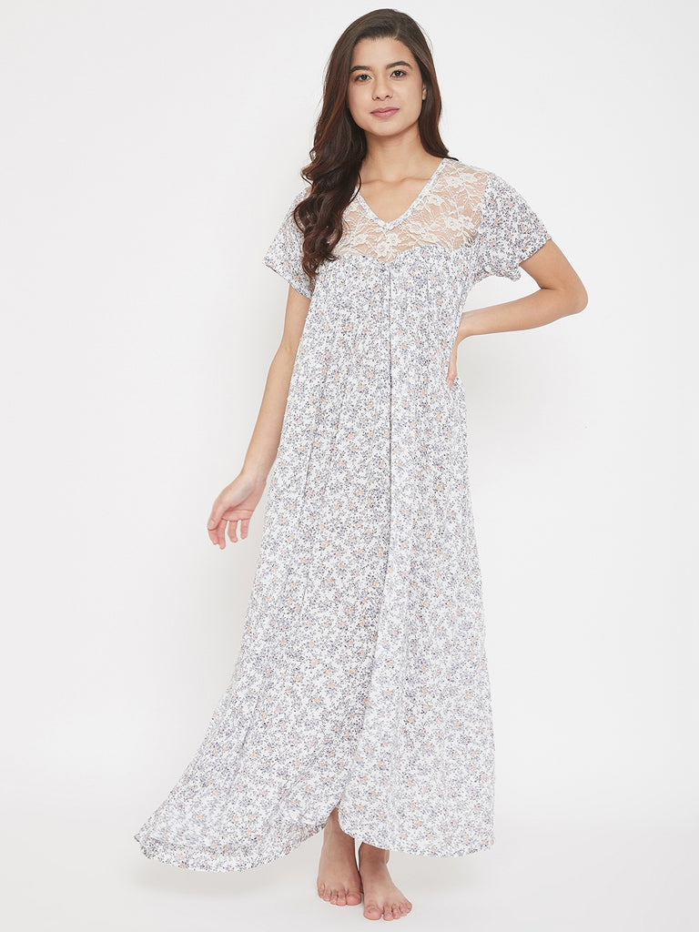 White Floral Printed Loose Fitted Nightdress with Lace Yoke