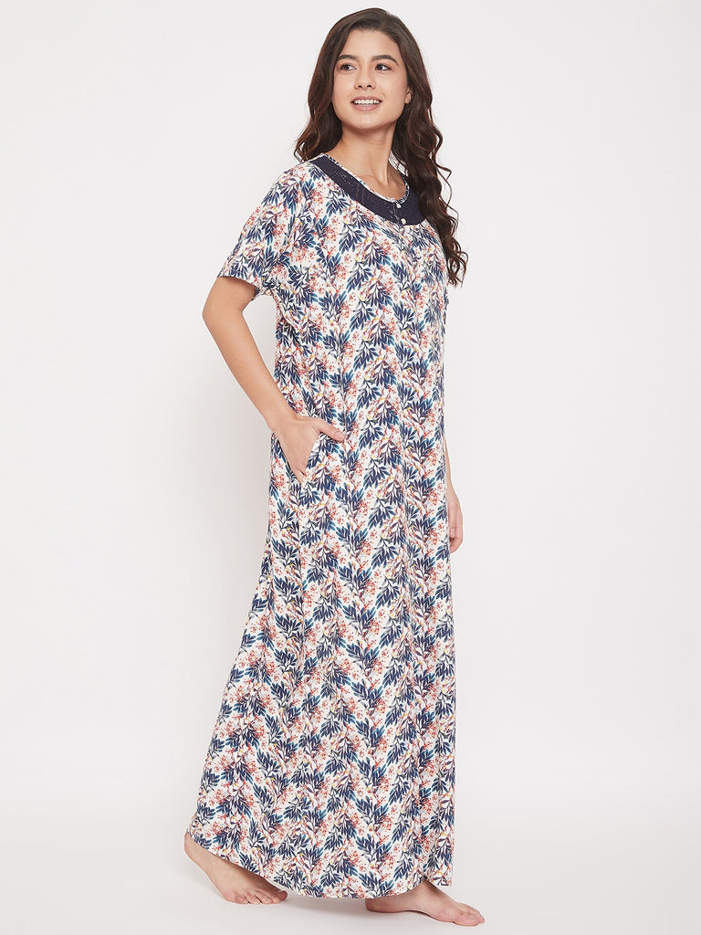 Floral Printed Cotton Modal Maxi Nightdress with Lace Yoke