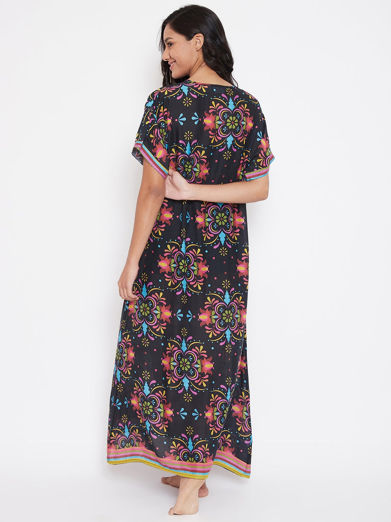 Floral Rhythm Modal Black Nighty