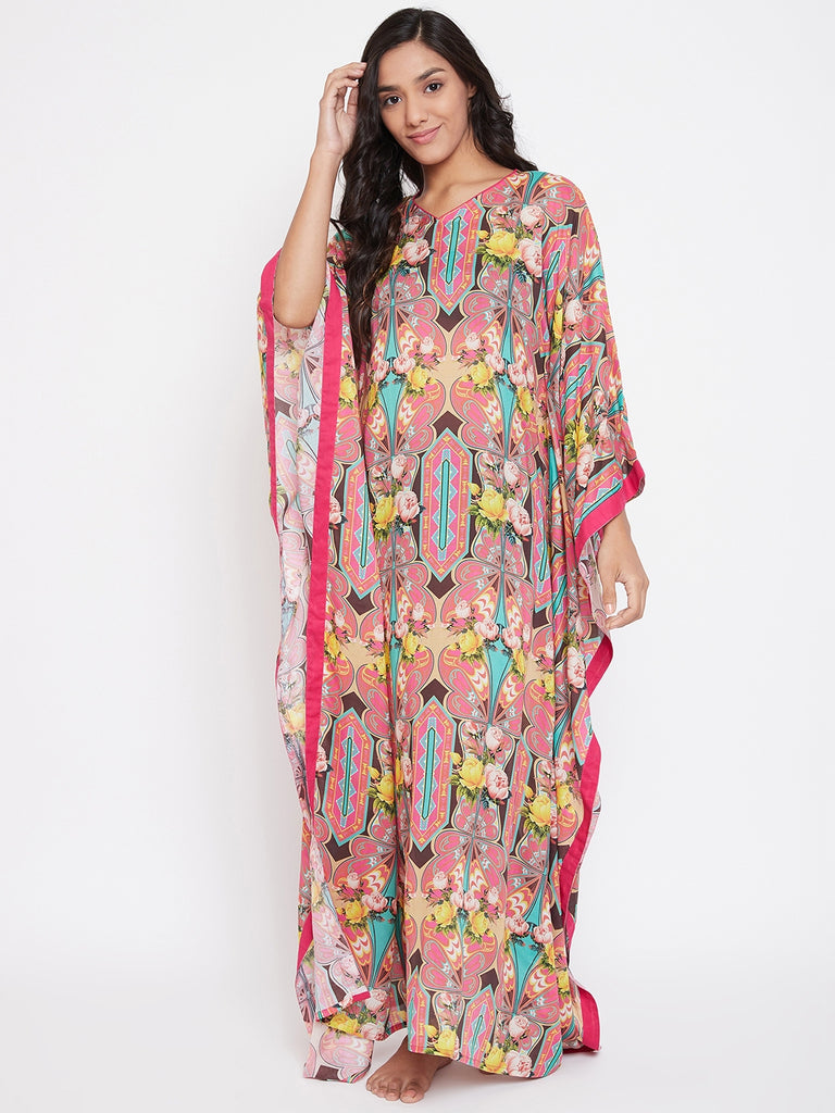 Designer Kaftan Nightwear from The Kaftan Company which is Mixed and Matched for you!  Brown and Pink Abstract floral Printed maxi length Kaftan