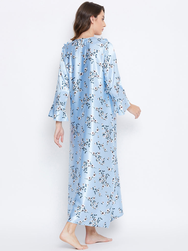 LACED-UP FLORA SATIN NIGHTDRESS