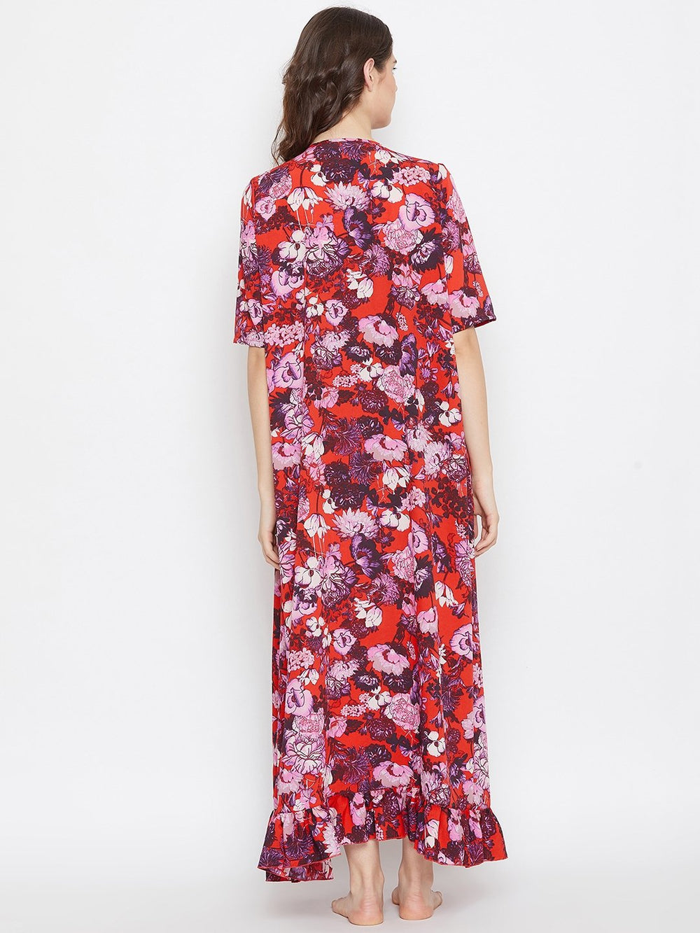 RED FLORAL PRINTED MATERNITY NIGHTDRESS