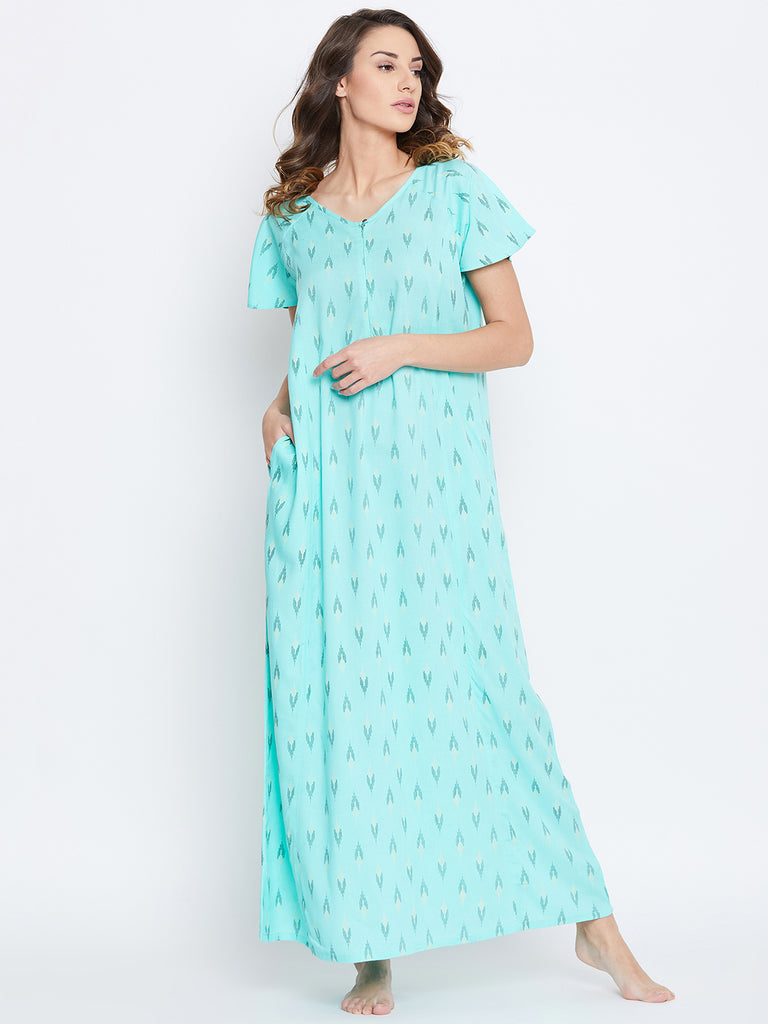 SEA GREEN PRINTED NIGHTDRESS