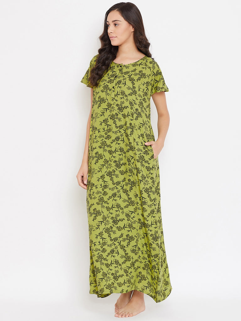 SAP GREEN PRINTED NIGHTDRESS