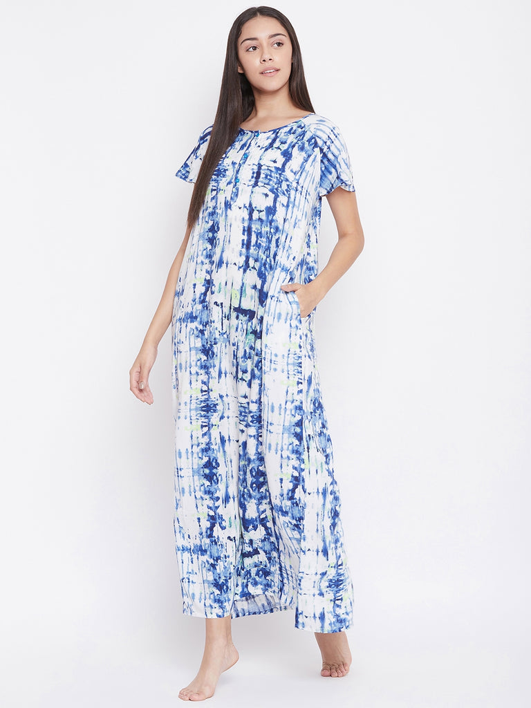 OCEAN BLUES PRINTED NIGHTDRESS