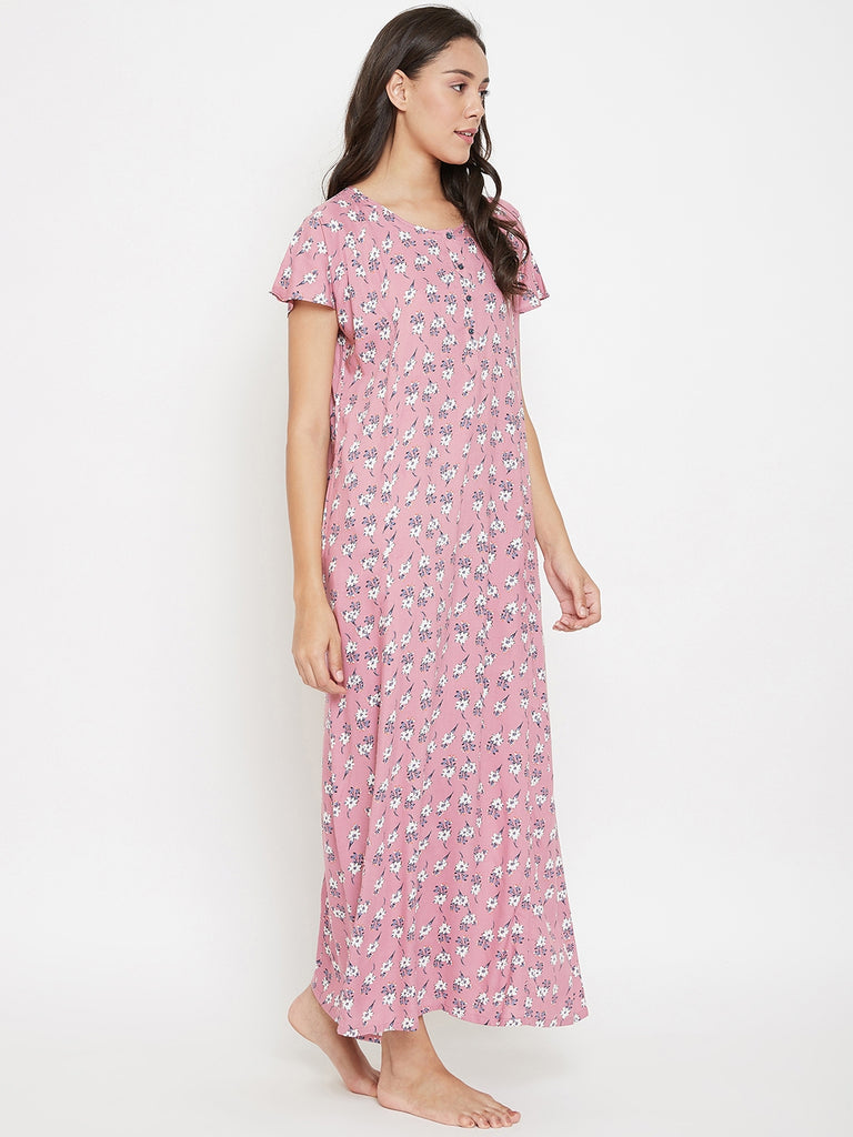 Pink Floral Printed Nightdress