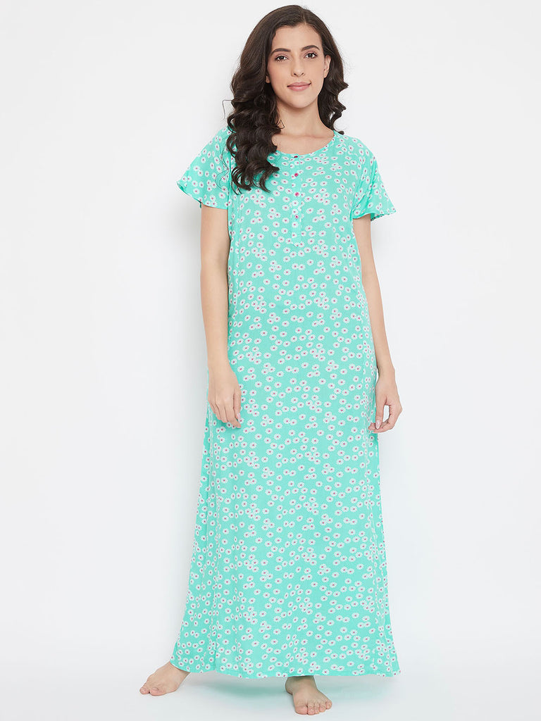 Green Floral Printed Nightdress
