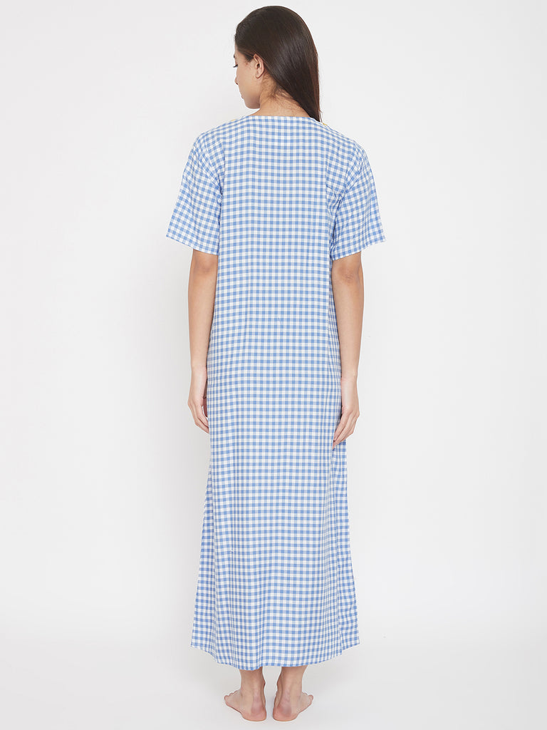 Blue Checks Maxi Nighty with Embroidered V-Neckline