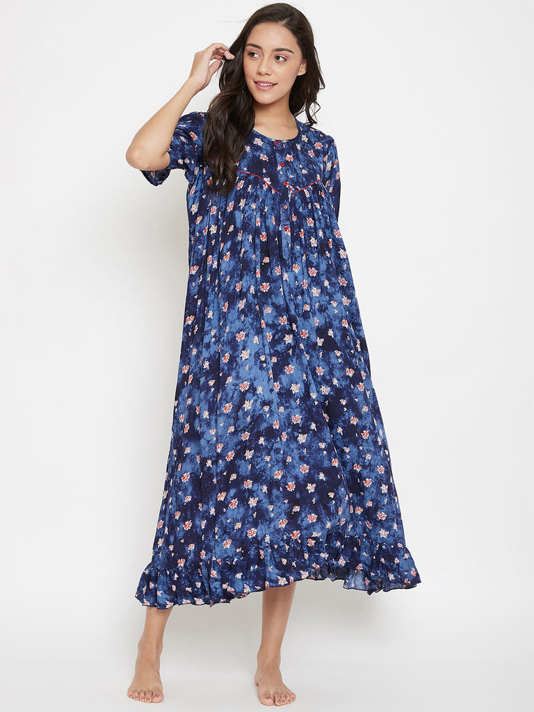 Navy Blue Printed Nightdress