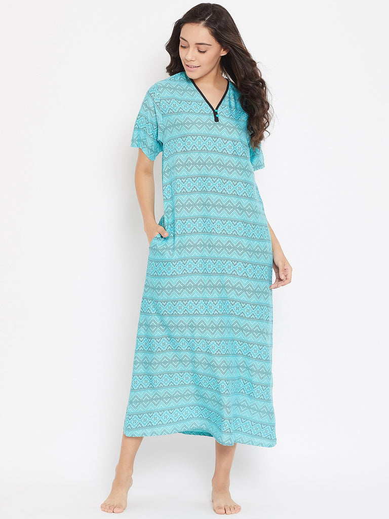 TIFFANY BLUE PRINTED  NIGHTDRESS