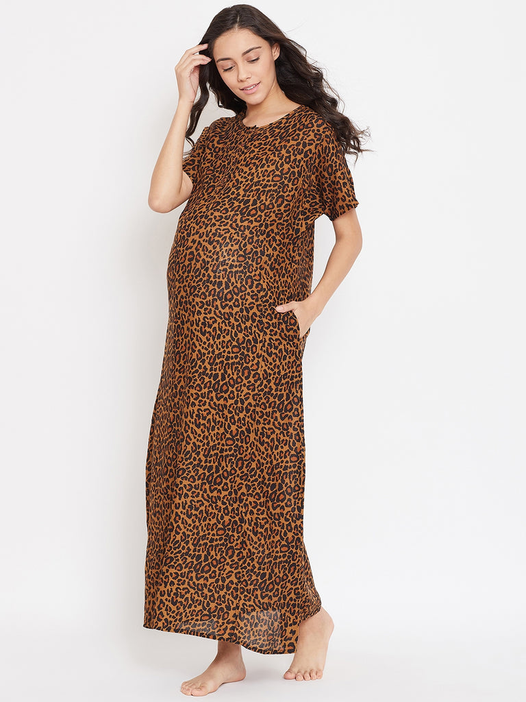 ANIMAL PRINTED MATERNITY NIGHTDRESS