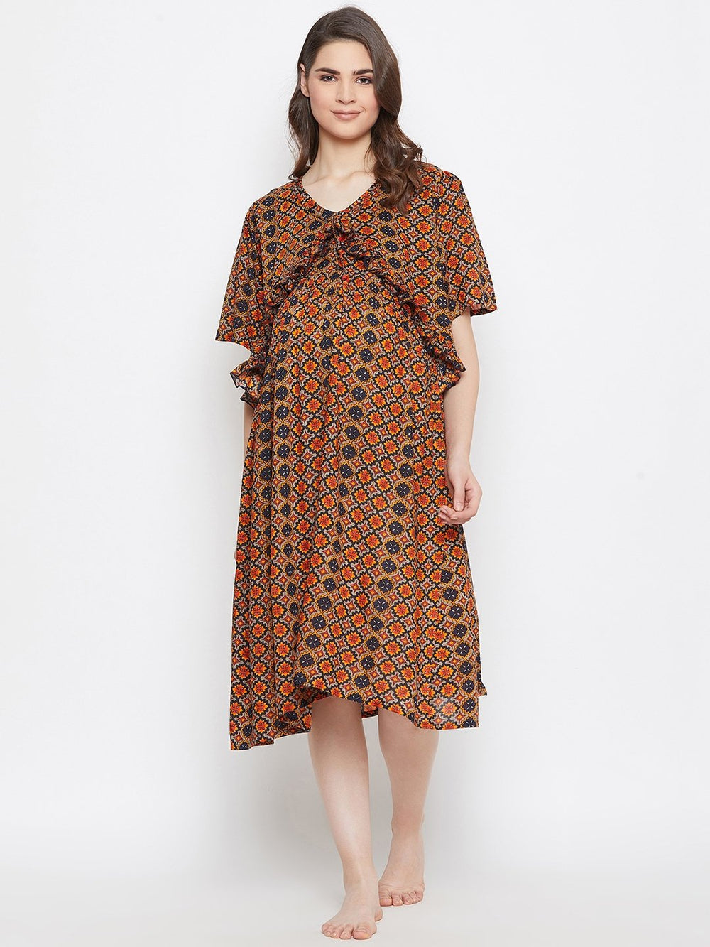 MULTICOLOR PRINTED MATERNITY NIGHTDRESS