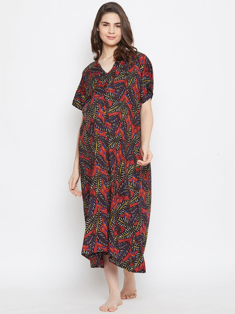 BLACK PRINTED MATERNITY NIGTHDRESS