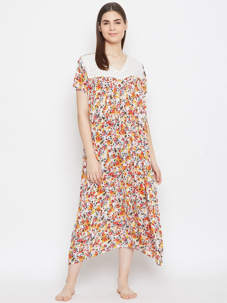 OFF WHITE PRINTED NIGHTDRESS