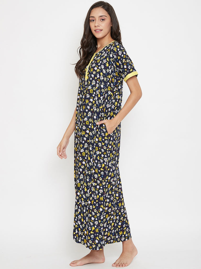 Navy Blue Floral Printed Nightdress