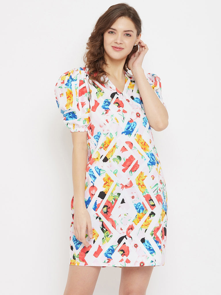 Linear Garden White Cotton Resort Dress with Puff Sleeves
