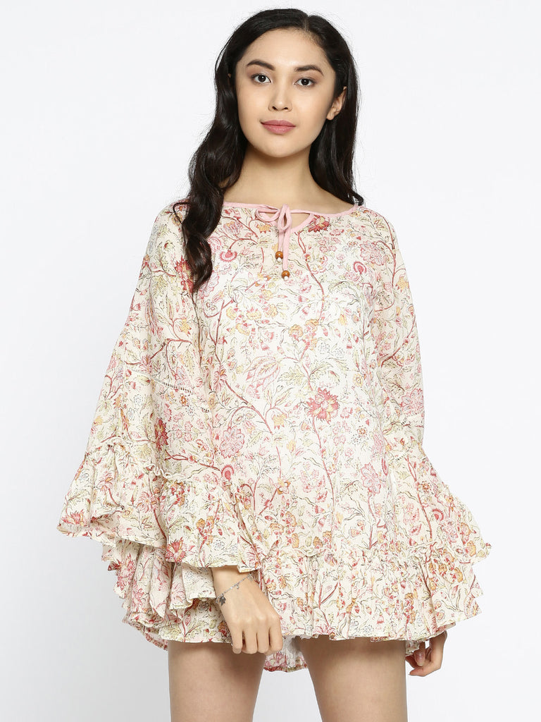 Cream-Coloured Printed Cover-Up Dress