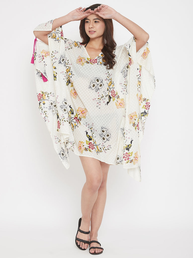 Floral Cotton Resort Wear Kaftan with Sleeve Tie-Up