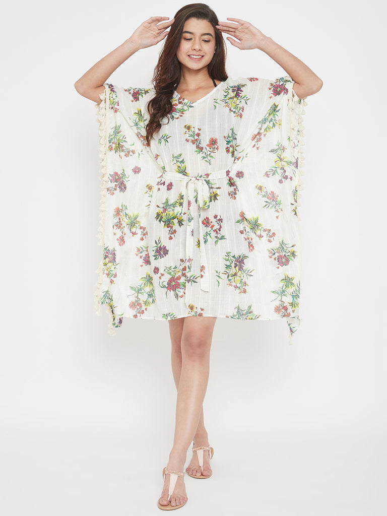 Floral Cotton Resort Wear Kaftan with Waist Tie-Up and Fringes